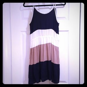 Navy blue, white and tan dress M